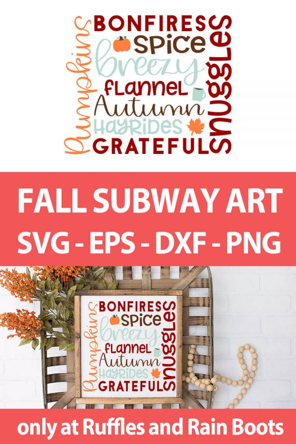 photo collage of subway tile art fall cut file set with text which reads fall subway art svg eps dxf png