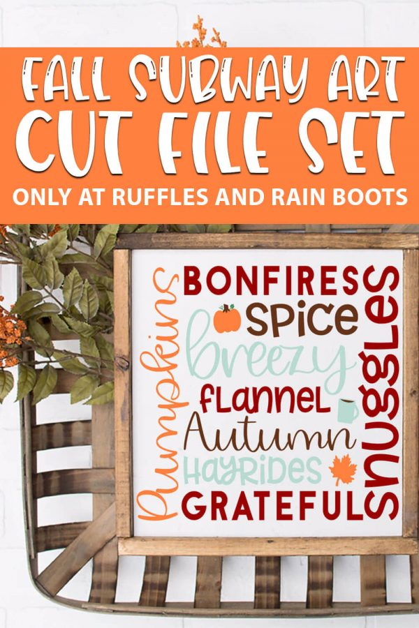 fall subway tile art cut files for cricut or silhouette with text which reads fall subway art cut file set
