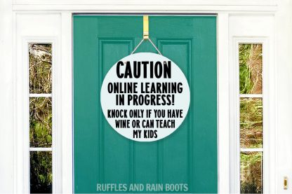 funny E learning door sign funny wine teach kids on a door