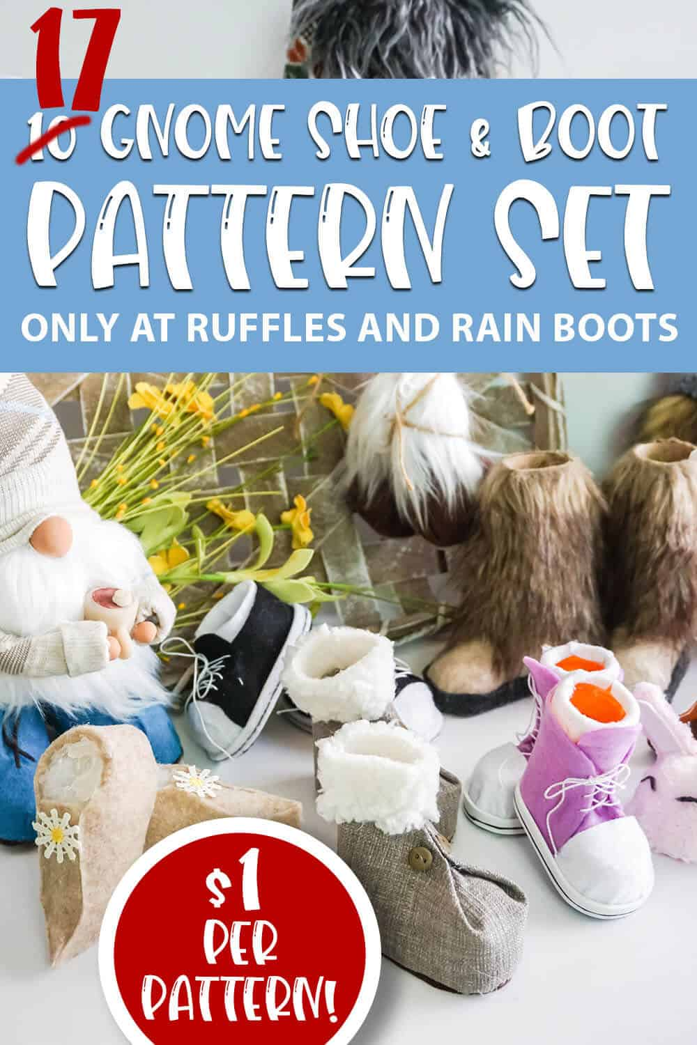 pattern for gnome shoes with text which reads 17 gnome shoe & boot pattern set