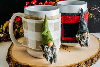 no-sew gnome mug cozy pattern and cut file set for cricut or silhouette