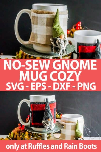 photo collage of mug cozy with a gnome on it made with a no-sew gnome pattern and cut file set with text which reads no-sew gnome mug cozy svg eps dxf png
