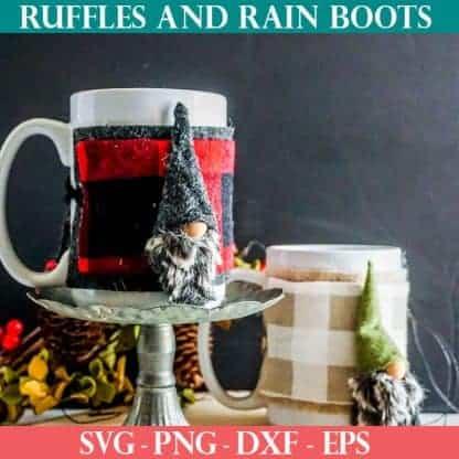 mug cozy gnome pattern with cut files