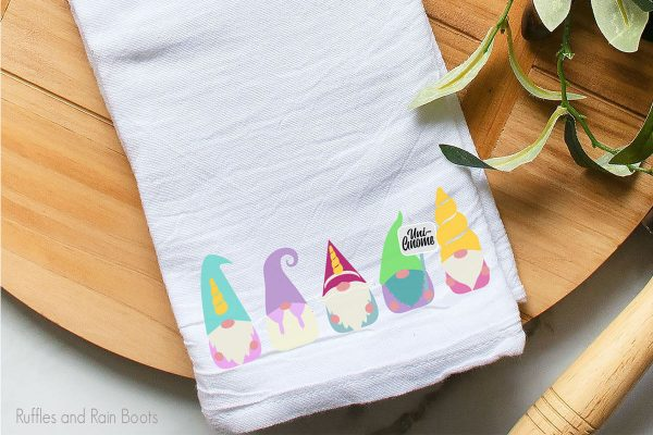 unicorn gnome cut file set for crafting applied to a kitchen towel