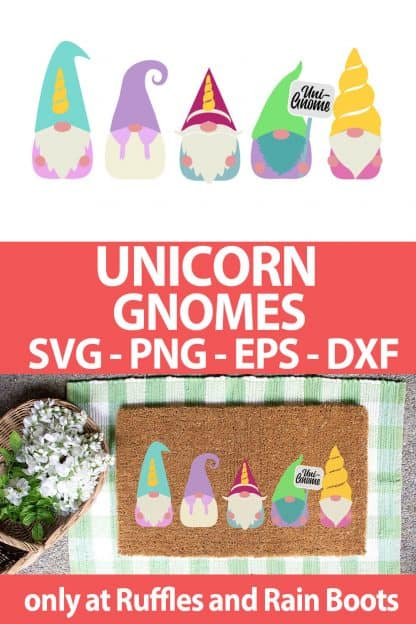 photo collage of unicorn gnome SVG set for cutting machines with text which reads unicorn gnomes svg png eps dxf