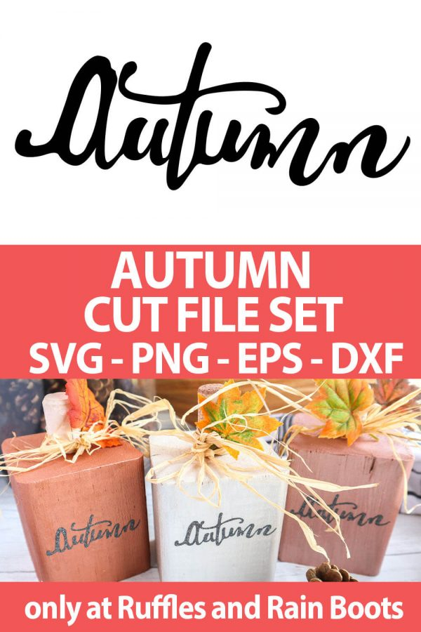 photo collage of Autumn SVG cut file set for cutting machines with text which reads autumn cut file set svg png eps dxf