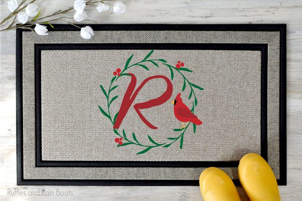 Cardinal wreath holiday cut file set for cutting machines on a welcome mat