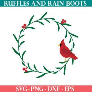 Cardinal wreath SVG cut file set for cricut or silhouette