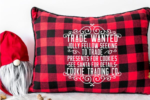 Cookie Trade Santa cut file set for christmas crafts on a pillow