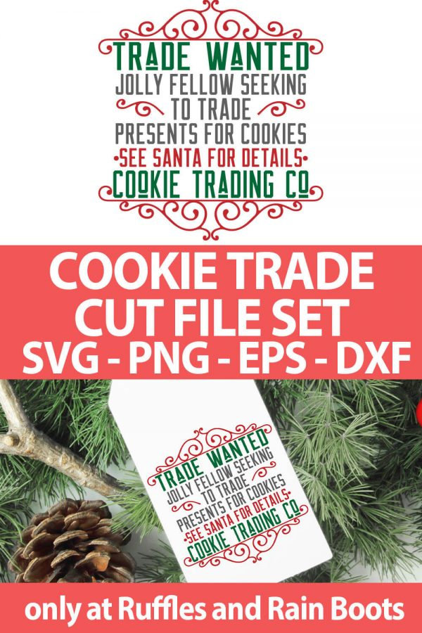 photo collage of Cookie Trade wanted cut file set for cutting machines with text which reads cookie trade cut file set svg png eps dxf