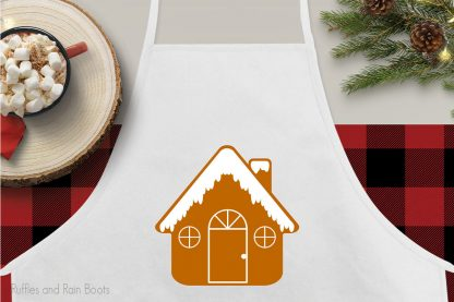 Gingerbread House for christmas cut file for cricut or silhouette on an apron