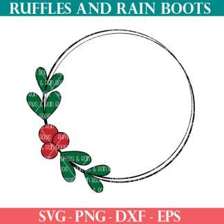 Holly wreath christmas cut file set for cricut or silhouette