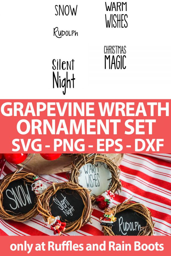 photo collage of Mini Grapevine Wreath Ornament SVG set for cricut or silhouette with text which reads grapevine wreath ornament set svg png eps dxf