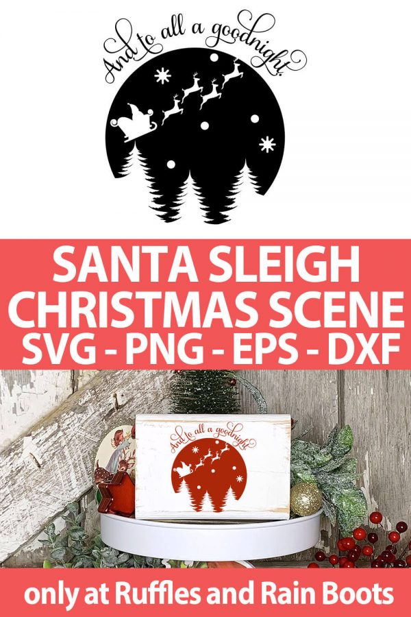 photo collage of Santa's ride Christmas SVG cut file for cutting machines with text which reads santa sleigh christmas scene svg png eps dxf