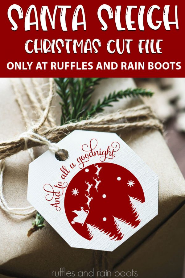 Santa Seligh Christmas Scene cut file set for cricut or silhouette with text which reads santa sleigh christmas cut file