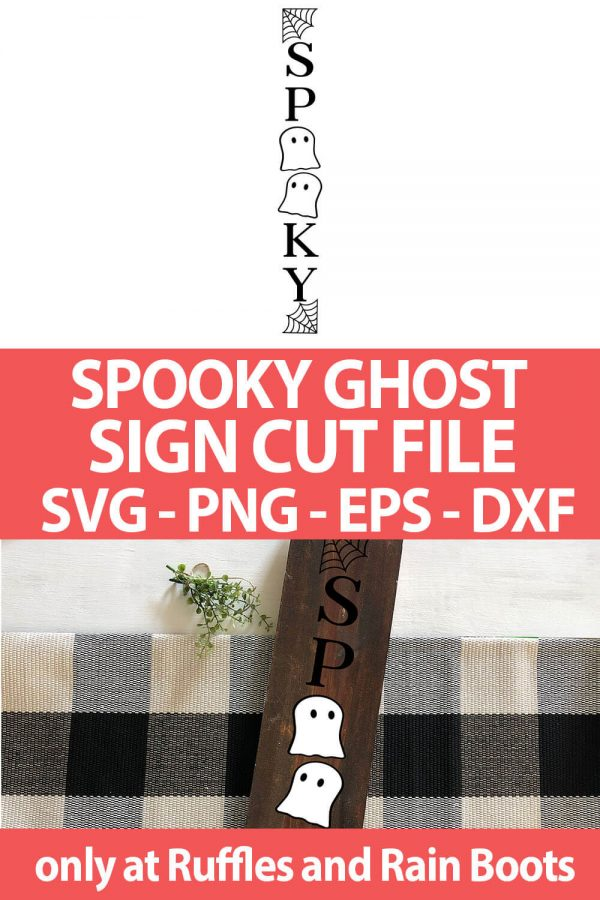 photo collage of Spooky Ghost halloween porch Sign cut file set for cricut or silhouette with text which reads spooky ghost sign cut file svg png eps dxf