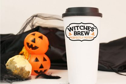 Wiches' brew cut file set on a tumbler sitting on a table with halloween decorations