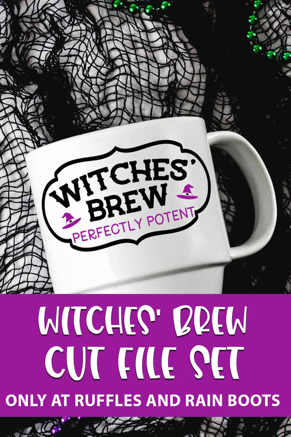Witches brew cut file set for cricut or silhouette on a mug with text which reads witches' brew cut file set
