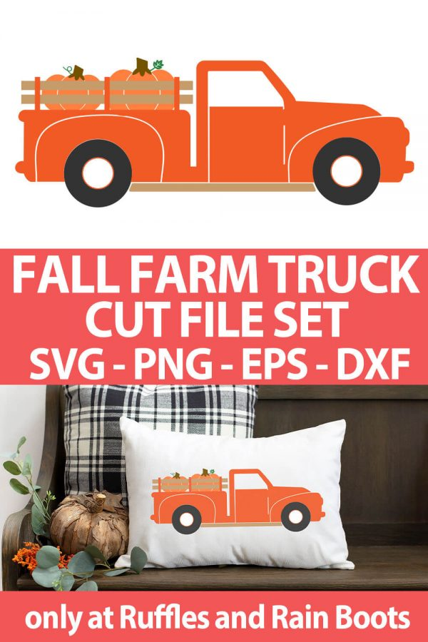 photo collage of fall farm truck with pumpkins SVG cut file set with text which reads fall farm truck cut file set svg png eps dxf