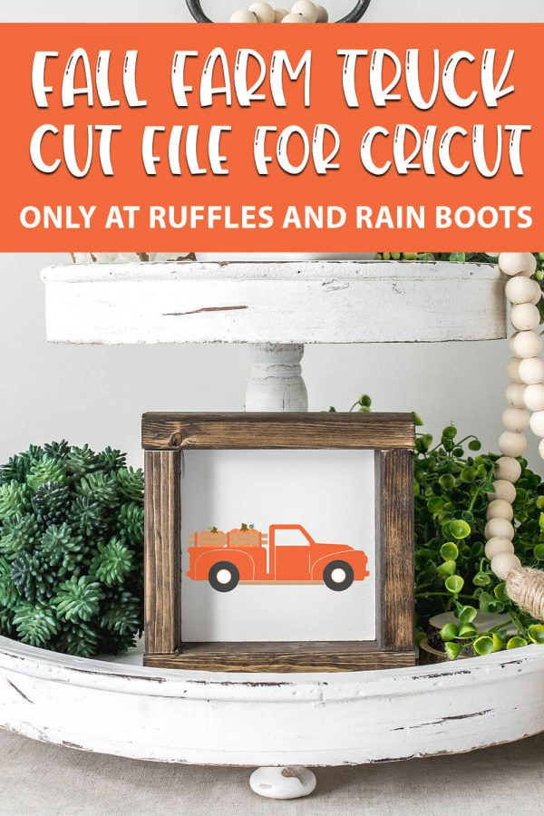 fall sublimation or cut file for cricut or silhouette of a farm truck with pumpkins with text which reads fall farm truck cut file for cricut