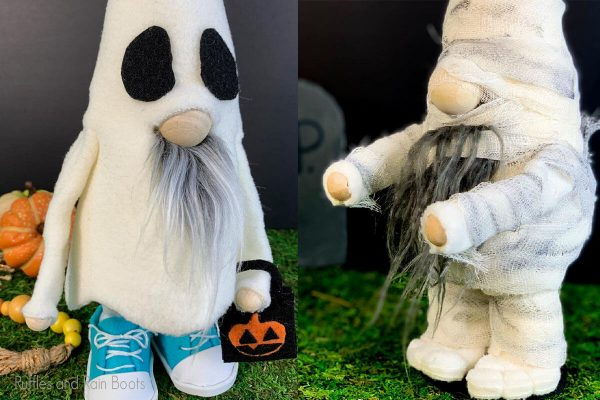 photo collage of ghost and mummy DIY gnome pattern set
