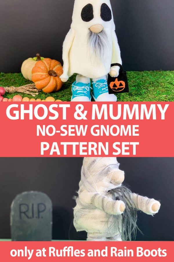 photo collage of ghost and mummy no-sew gnome pattern with text which reads ghost & mummy no-sew gnome pattern set