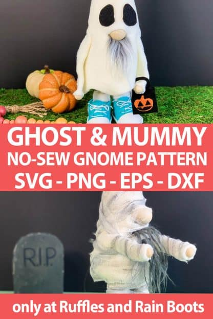 photo collage of ghost and mummy gnome pattern set with cut files for cutting machines with text which reads ghost & mummy no-sew gnome pattern svg png eps dxf