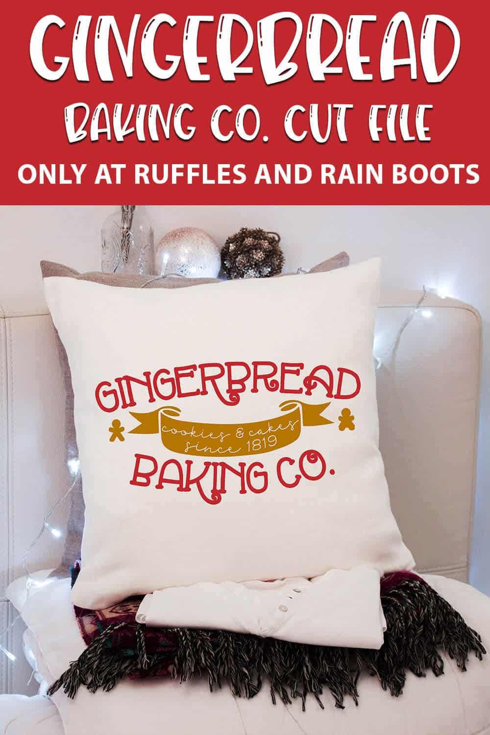 gingerbread baking company cut file set for cricut or silhouette with text which reads gingerbread baking co. cut file