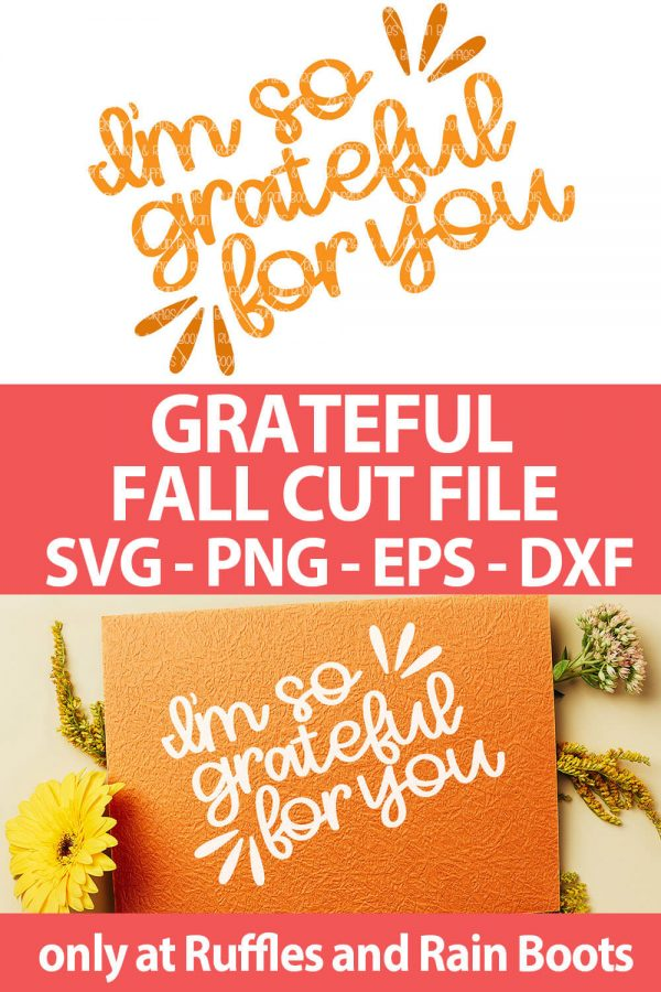 photo collage of grateful fall svg cut file set for cricut or silhouette with text which reads grateful fall cut file svg png eps dxf