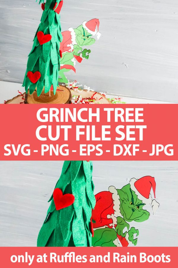 photo collage of a grinch tree craft with text which reads grinch tree cut file set