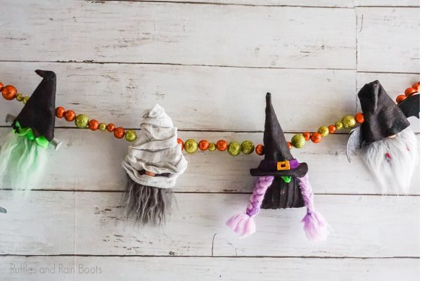 halloween gnome pattern for a garland using cut file for cricut or silhouette
