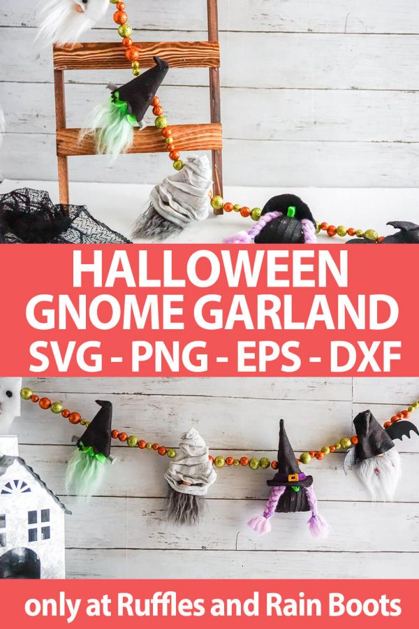 photo collage of halloween gnome garland pattern and SVG file set for cricut or silhouette with text wchich reads halloween gnome garland svg png eps dxf
