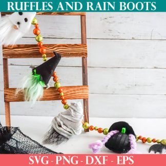 halloween garland of gnomes pattern and cut file set for cricut or silhouette