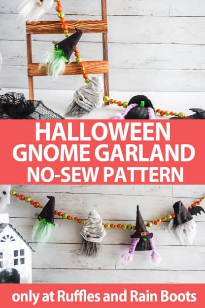 photo collage of halloween garland gnome pattern set with text which reads halloween gnome garland no-sew pattern