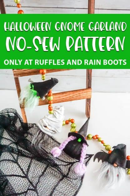 halloween gnome garland pattern with text which reads halloween gnome garland no-sew pattern