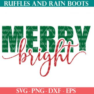 offset merry bright SVG file set for cricut or silhouette