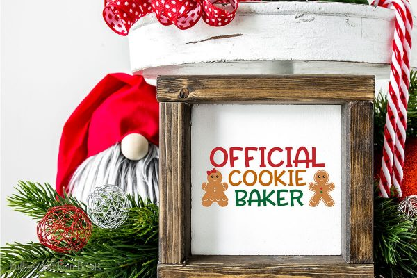 official cookie baker cut file set for cricut or silhouette on a wood sign tiered tray filler
