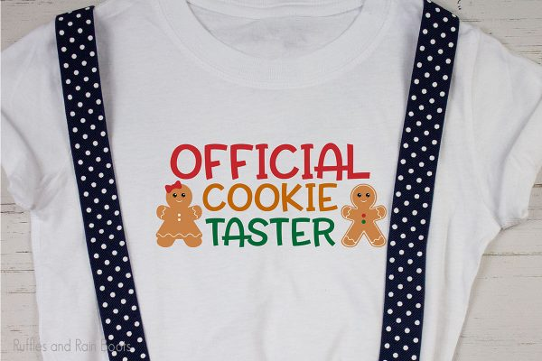 official cookie taster cut file for cutting machines on a t-shirt for kids