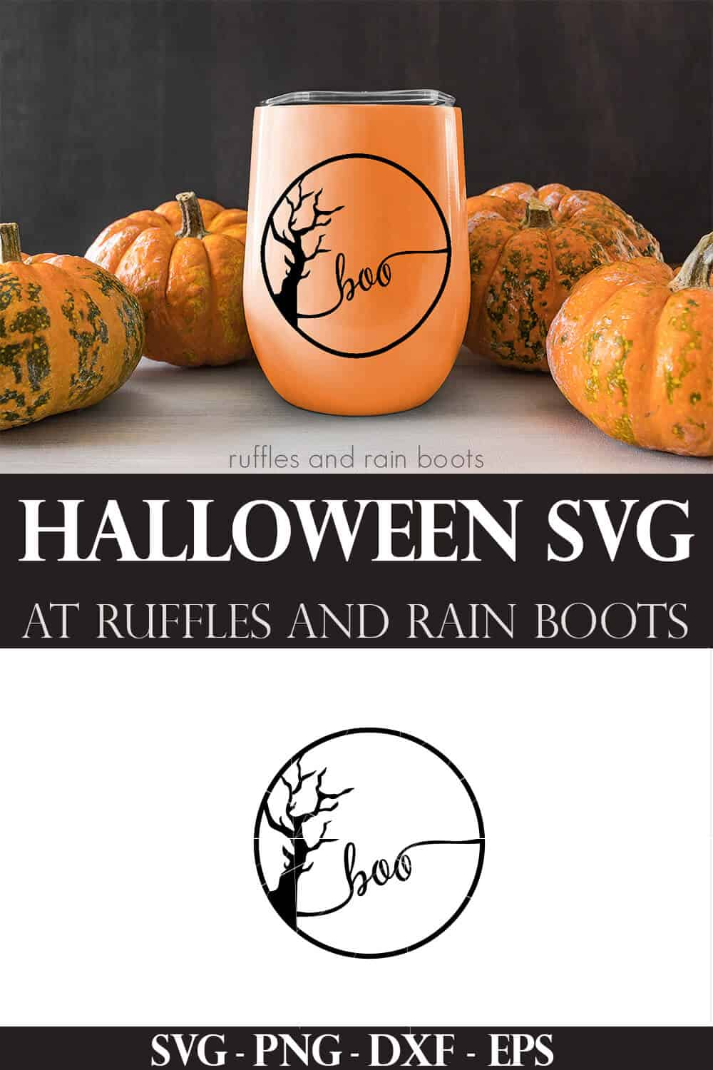 collage of Halloween SVG in black on orange tumbler with pumpkins and wood background