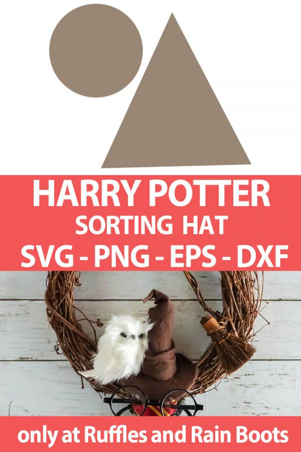 photo collage of Sorting Hat SVG cut file for cutting machines with text which reads harry potter sorting hat svg png eps dxf