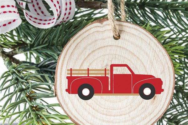 christmas truck cut file for cricut or silhouette on a wood round ornament