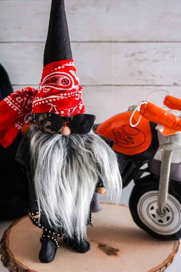 biker gnome motorcycle gnome pattern