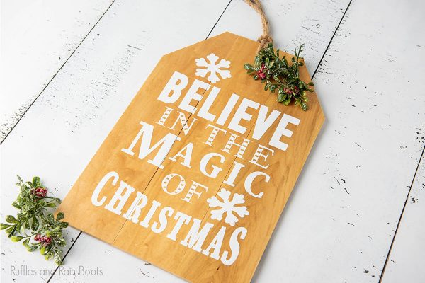 magic of christmas SVG cut file set for cutting machines on a wood sign for christmas decor