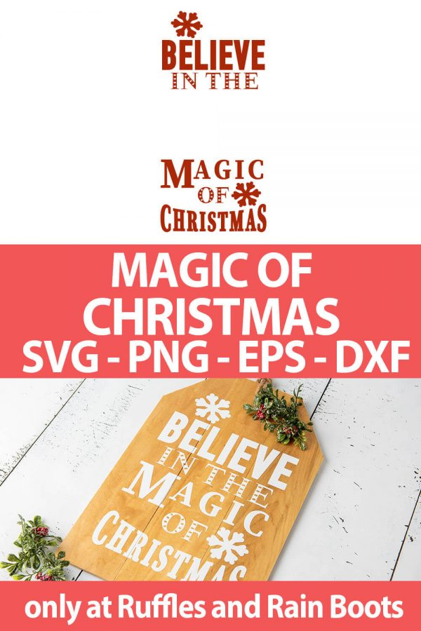 photo collage of christmas magic cut files set for cricut or silhouette with text which reads magic of christmas svg png eps dxf