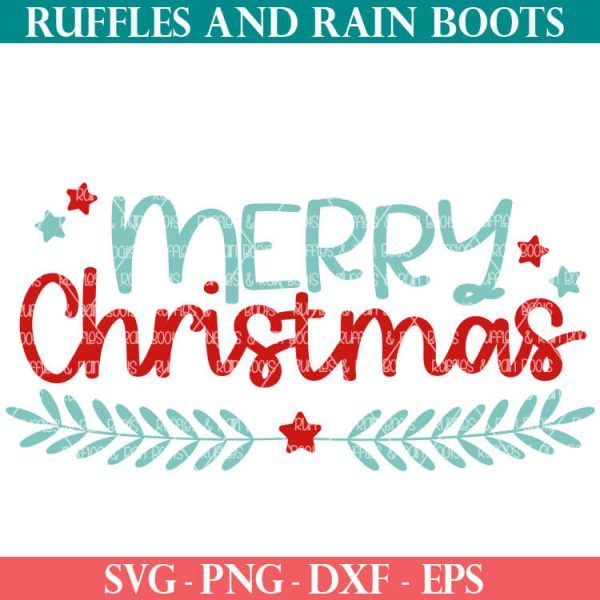laurel and stars merry christmas SVG file set