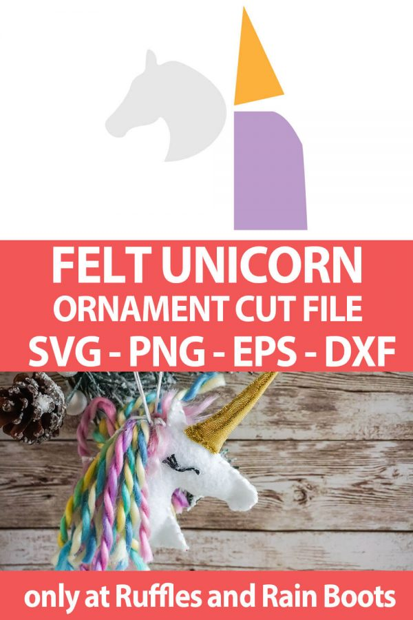 photo collage of cut file set for a felt christmas ornament unicorn with text which reads felt unicorn ornament cut file svg png eps dxf