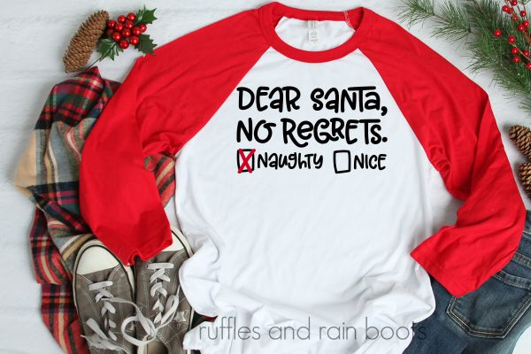 christmas table with red and white t shirt and cricut made dear santa svg