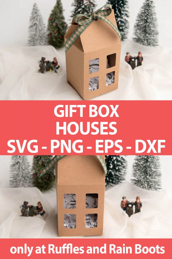 photo collage of Gift Box House paper craft SVG file set with text which reads gift box houses svg png eps dxf