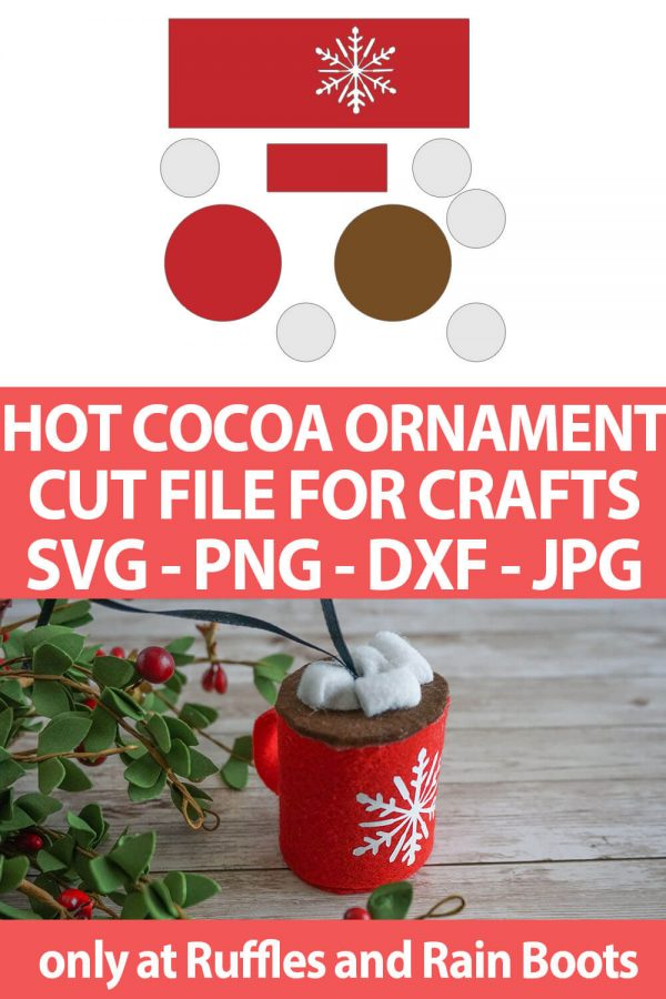 photo collage of diy christmas ornament hot cocoa craft for cricut or silhouette with text which reads hot cocoa ornament cut file for crafts svg png dxf jpg