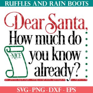 Dear Santa How Much Do You Know SVG on ruffles and rain boots shop